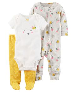 Baby Girl 3-Piece Babysoft Footed Pant Set from Carters.com. Shop clothing 445476d8e