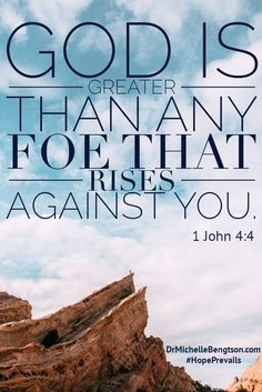 """You have an enemy that seeks to steal, kill and destroy. But, God is greater than any foe that rises against you. 1 John 4:4 Dr. Michelle Bengtson from """"Hope Prevails."""" Depression. Mental Health."""