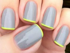 Gray and neon french mani