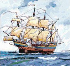 The Henri Grace a Dieu ~ Sailing Ships ~ Counted Cross Stitch Pattern #StoneyKnobFarmHeirlooms #CountedCrossStitch
