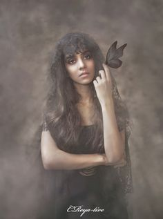 Photo manipulation Girl with butterfly