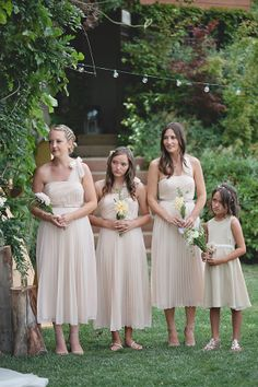 bridesmaid dresses in cream #creamwedding http://www.weddingchicks.com/2013/11/27/comfortable-california-wedding/