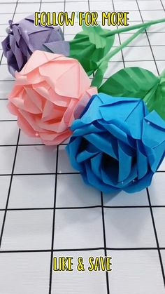 Tissue Paper Crafts, Paper Flowers Craft, Paper Crafts For Kids, Flower Crafts, Diy Paper, Instruções Origami, Paper Crafts Origami, Diy Crafts Hacks, Diy Crafts For Gifts