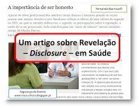 Segurança do Doente: Um artigo sobre Revelação – Disclosure – em Saúde