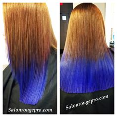 Electric blue copper ombré long hair