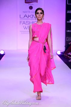 summerresort fashion neeta lulla lakme week 2014 at Neeta Lulla at Lakme Fashion Week SummerResort can find Neeta lulla and more on our website Saree Draping Styles, Saree Styles, Drape Sarees, Indian Dresses, Indian Outfits, Indian Clothes, Modern Saree, South Indian Sarees, Indian Attire