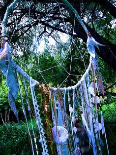 giant dream catcher made out of hula hoop