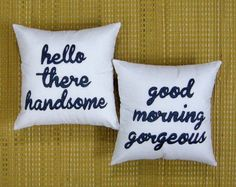 Custom His and Her Pillow Cover Hello There Handsome Good Morning Gorgeous Cushion Cover Personalized Gift Wedding Anniversary Love Birthday Gift,