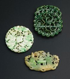 THREE RETICULATED JADE PLAQUES<br>QING DYNASTY, 19TH CENTURY | lot | Sotheby's