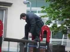 50 seconds of Matt Smith playing on a playground. The most adorable 50 seconds of your life. Take that, kitten videos. whovian-delights