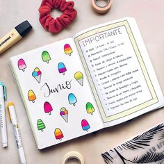 I loved collecting spreads for this amazing theme! Ice Cream Bullet Journal ideas to make you long for summer or ice creams! Monthly Bullet Journal Layout, Bullet Journal Month, Bullet Journal Cover Ideas, Calendar Journal, Bullet Journal Tracker, Bullet Journal Junkies, Bullet Journal Spread, Journal Covers, Bullet Journal Inspiration