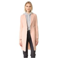 Harris Wharf London Flared Coat ($635) ❤ liked on Polyvore featuring outerwear, coats, rose, long sleeve coat, harris wharf london, flare coats and flared coat
