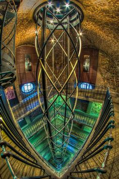 DNA tunnel, Prague Czech Republic. :-)  Creative photo of the elevator and ramps inside the tower of the Old Town Hall.