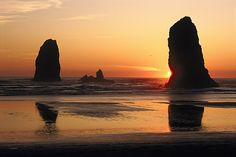 The Sun Sets Over The Sea Stacks Photograph by Phil Schermeister