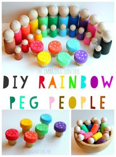 Make some DIY rainbow peg people and toadstools for imaginative play!