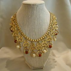 Necklace Heavy Gold Metal Waterfall Like with Brown Rust and Cream Colored Plastic Resin Beads 1980's Vintage Costume Jewelry Accessories by elsysvintage on Etsy