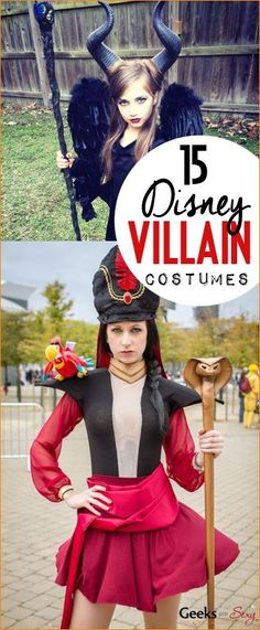 15 Disney Villain DIY Costumes.  Striking Disney costumes with flare.  Maleficent, Jafar, Ursula, Barbosa and Evil Witch costumes to love.