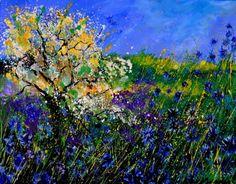 blue cor,flowers, painting by artist ledent pol