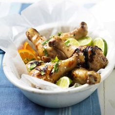 Tequila-Honey-Lime Marinated Drumsticks A simple marinade adds amazing flavor to the grilled chicken in this quick and easy dinner.