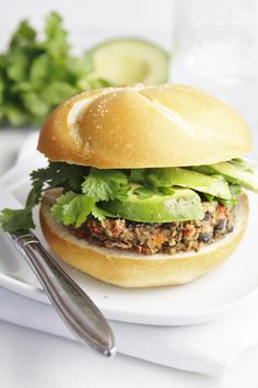 Black Bean Veggie Burger with Avocado.