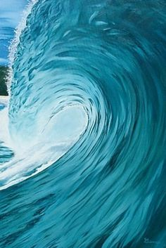Teal Blue Barrel … Painting of a wave by Gianna Mitchell - Maui Artist . Ocean Wave, Sea And Ocean, Ocean Beach, No Wave, Water Waves, Sea Waves, Making Waves, Surf Art, Shades Of Blue