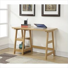 Trestle Desk in Light Oak Finish - Convenience Concepts Trestle Desk by Convenience Concepts, Inc. has a variety of key features. With two fixed shelves that provide plenty of space for the extras - such as files, books, or even sup Trestle Desk, Folding Desk, Solid Wood Desk, Big Desk, Desk Shelves, Desk Light, Light Oak, Home Office Desks, Writing Desk