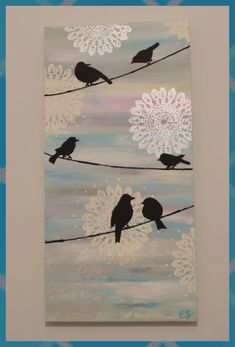 Conheça Lace Art: a arte com renda – Stencils pinturas – Bilder Doily Art, Lace Art, Diy Canvas Art, Diy Wall Art, Painting Canvas, Diy Painting, Bird Canvas, Canvas Ideas, Doilies Crafts