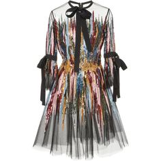 Elie Saab Short Embroidered Dress (€6.930) ❤ liked on Polyvore featuring dresses, vestido, day dresses, multi, embroidery dresses, embellished short dress, short length dresses, 3 4 sleeve a line dress and short embroidered dress