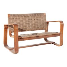 """Mid-century sofa designed by Giuseppe Pagano Pogatschnig and Gino Maggioni. The sofa is the """"Lamellare"""" model with wooden frame and woven rope seat. Outdoor Chairs, Outdoor Furniture, Outdoor Decor, Mid Century Sofa, Sofas, Armchairs, Sofa Design, Wooden Frames, Love Seat"""