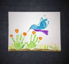 Bird and flower hand and foot print art