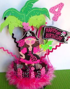 """Pirate Birthday cake topper for girs mdhodgk says:  The cutest cake ever! When asked what her favortie part of her 4th birthday party was, Madison responded """"my cake""""!!!!! Thank you #birthday #caketopper #pirate"""