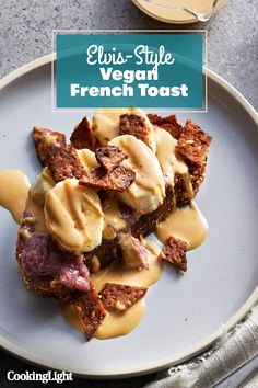 This vegan French toast hits all the crave-able points: It's sweet, salty, soft and chewy, with hits of crunch. Plus, your non-vegan frie. French Toast Batter, Vegan French Toast, Breakfast Dishes, Breakfast Recipes, Brunch Recipes, Vegan Recipes, Grape Jam, Peanut Butter Sauce, Flax Seed Recipes
