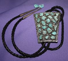 $1600 Classic Navajo Lone Mountain Nugget Cluster Bolo Tie, Jewelry by Allen Kee