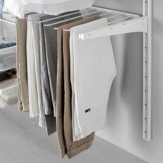 IKEA - ALGOT, Pants hanger, white, Just click in on ALGOT brackets – no tools needed. The pants hanger has 9 bars. To be used between 2 ALGOT brackets deep), sold separately. Ikea Algot, Closet Remodel, Shower Remodel, Closet Bedroom, Closet Space, Closet Ideas For Small Spaces Bedroom, Ikea Small Spaces, Ideas Armario, Organizar Closet