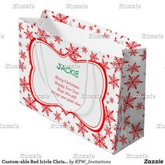 Custom-able Red Icicle Christmas Large Gift Bag