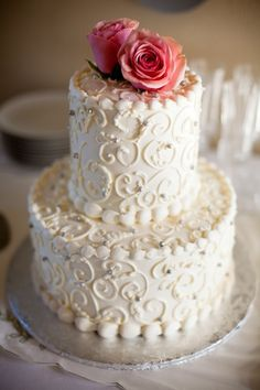This cake was from a 600 dollar DIY at-home wedding.