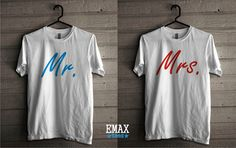 Mr Mrs Tshirts Set Matching Tees for Couples Unisex by EmaxTees