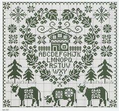 Cross-stitch Alpine Silhouette sampler