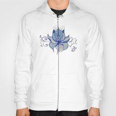 Watercolor Blue Lotus Hoody