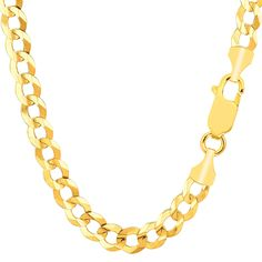 """14k Yellow Gold Comfort Curb Chain Bracelet, 7.0mm, 8.5"""". 14k Gold. Curb Style Bracelet. Length 8 Inch."""