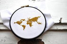 KREUZSTICH STICKVORLAGE KREUZSTICH STICKMUSTER KREUZSTICHVORLAGEN MODERN KREUZSTICHMUSTER   **WELTKARTE - WORLD GO GREEN**   Auf diese Welt sollten wir gut aufpassen. da gibts keine zweite...