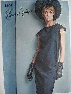 1960s Pierre Cardin Slim Dress Pattern Vogue Paris Original 1508 Slightly Fitted Side Wrap Effect Cap Sleeves Classic Elegance