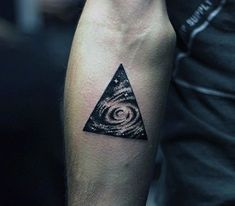 Swirls And Stars In Triangle Tattoo For Men On Arms
