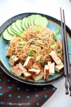 """brown rice noodles with chili soy dressing and tofu---I think I should rename this board """"Asian Food"""", considering that basically everything on this board in Asian...."""