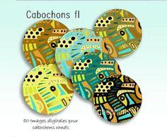 80 Images digitales à imprimer pour cabochons ronds motifs