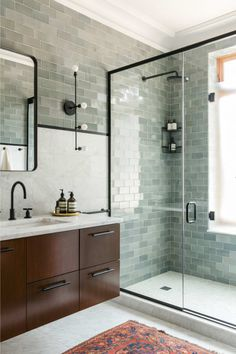 Green tile is trending in interior design. Here are 35 reasons why we can't get enough green tile. For more interior design trends and inspiration, visit domino. House Bathroom, Bathroom Inspiration, Bathroom Interior, Small Bathroom, Bathrooms Remodel, Bathroom Decor, Tile Bathroom, Bathroom Trends, Modern Bathroom Design