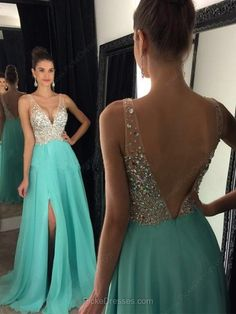 New Arrival Prom Dress,Ulass Prom Dress,sparkly crystal beaded v neck open back long chiffon prom dresses 2017 pageant evening gowns with leg slit - Thumbnail 3 Turquoise Prom Dresses, Sparkly Prom Dresses, Prom Dresses 2018, Beaded Prom Dress, Backless Prom Dresses, Modest Dresses, Dance Dresses, Evening Dresses, Beaded Chiffon