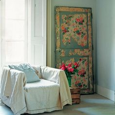 This floral distressed door is a great focal point idea for a room. Decoupage using floral gift wrap, wallpaper or even cards. A decoupage how-to can be found here.  Image from redonline.co.uk.  P.S. The Redonline Tutorial is gone. I could not find it or any one for this door anywhere. If you do find a tutorial for this door, please let me know?