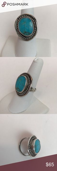 🌷🌷Sterling Silver and Turquoise Ring Sterling silver and turquoise ring. Native American styling with rope detail around the bezel set stone. Purchased from a local estate sale from a jewelry artist from the 1970s-1980s. This piece is unmarked but tests as sterling. Size 8. Weighs 6.95g. Matching bracelet in a separate listing. Jewelry Rings