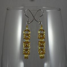 ear131 Shiny #Gold #Byzantine #Earrings. $10.00, via #Etsy.  #handmade #chainmaille #jewelry #fashion #style